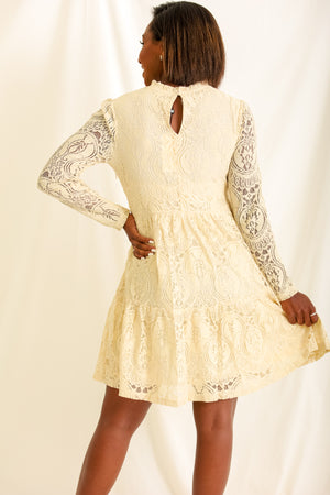 Delicately Detailed Daydream Cream Dress