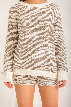 Dream of the Wild Zebra Pullover - Cream/Olive