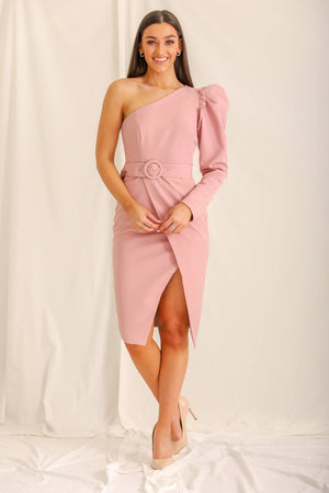 Ellie One Shoulder Midi Dress - Pink