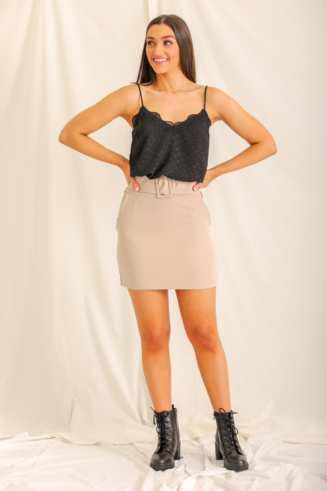 Strictly Business Baby Belted Mini Skirt