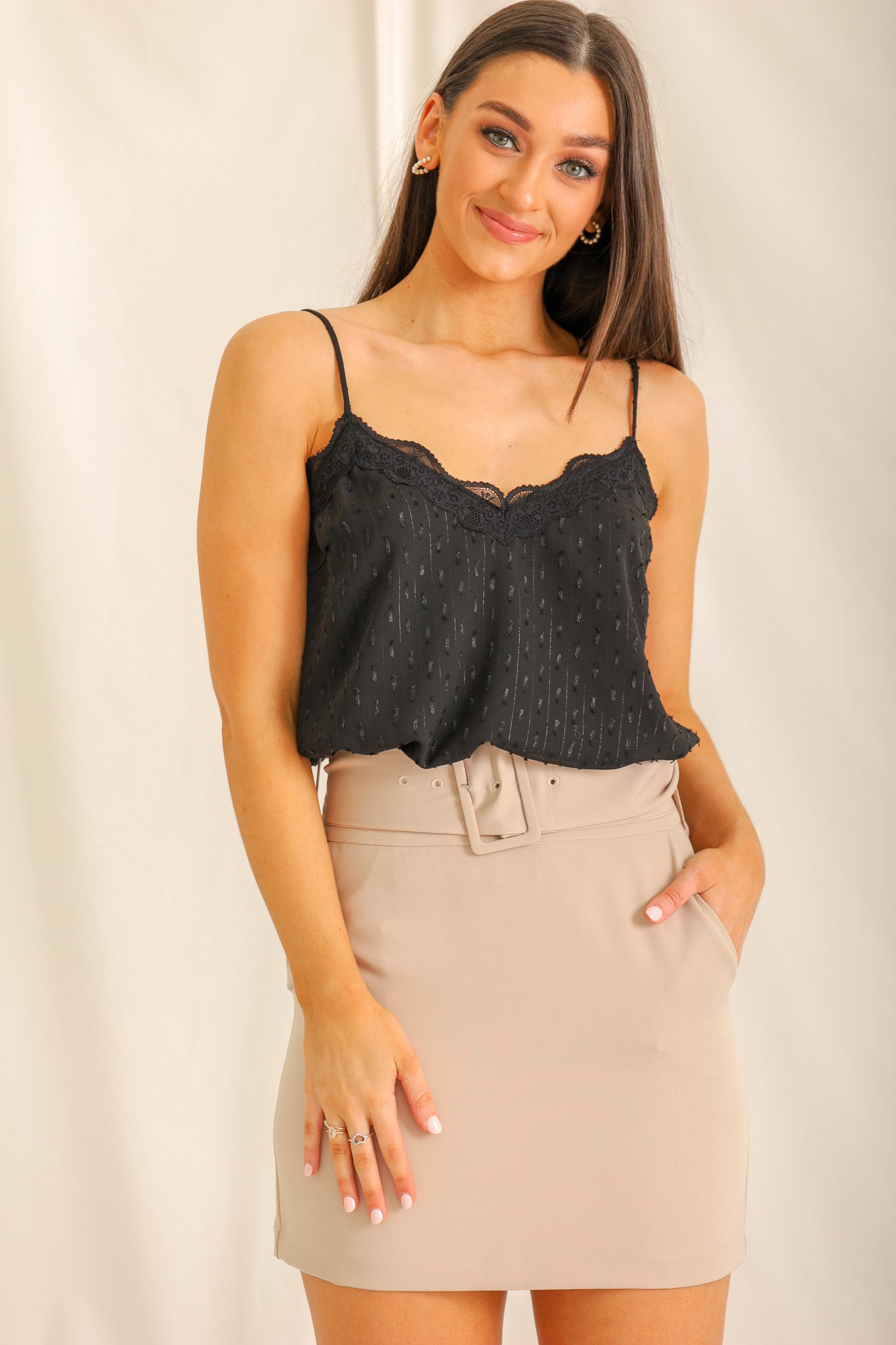 Blushing On By Lace Cami - Black
