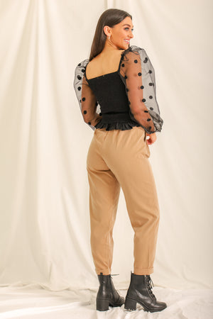 Coffee Talk Cropped Belted Pants