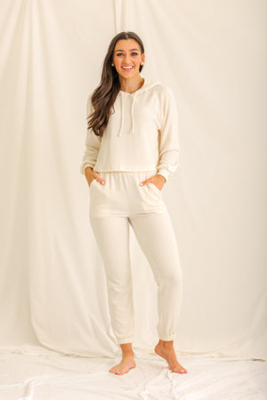 Relaxin' All Cool Ribbed Joggers - Ivory