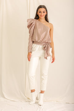 She's Extra Fierce Leopard One Shoulder Top - Taupe