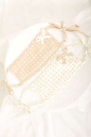 Polka Dot Face Mask With Bow - Ivory