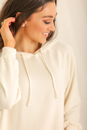 Relaxin' All Cool Ribbed Hoodie- Ivory