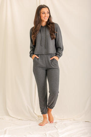 Relaxin' All Cool Ribbed Joggers - Charcoal