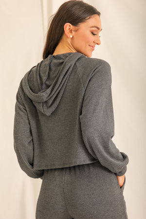 Relaxin' All Cool Ribbed Hoodie - Charcoal