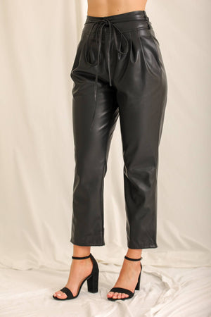 Sorry I Got Tied Up Faux Leather Pants - Black