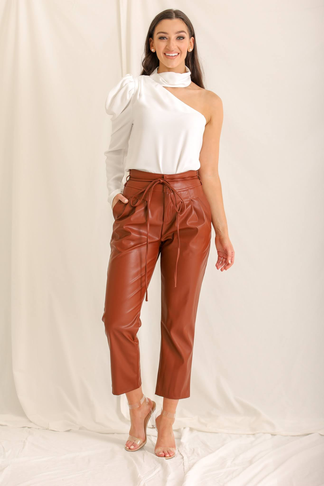 Sorry I Got Tied Up Faux Leather Pants - Brown