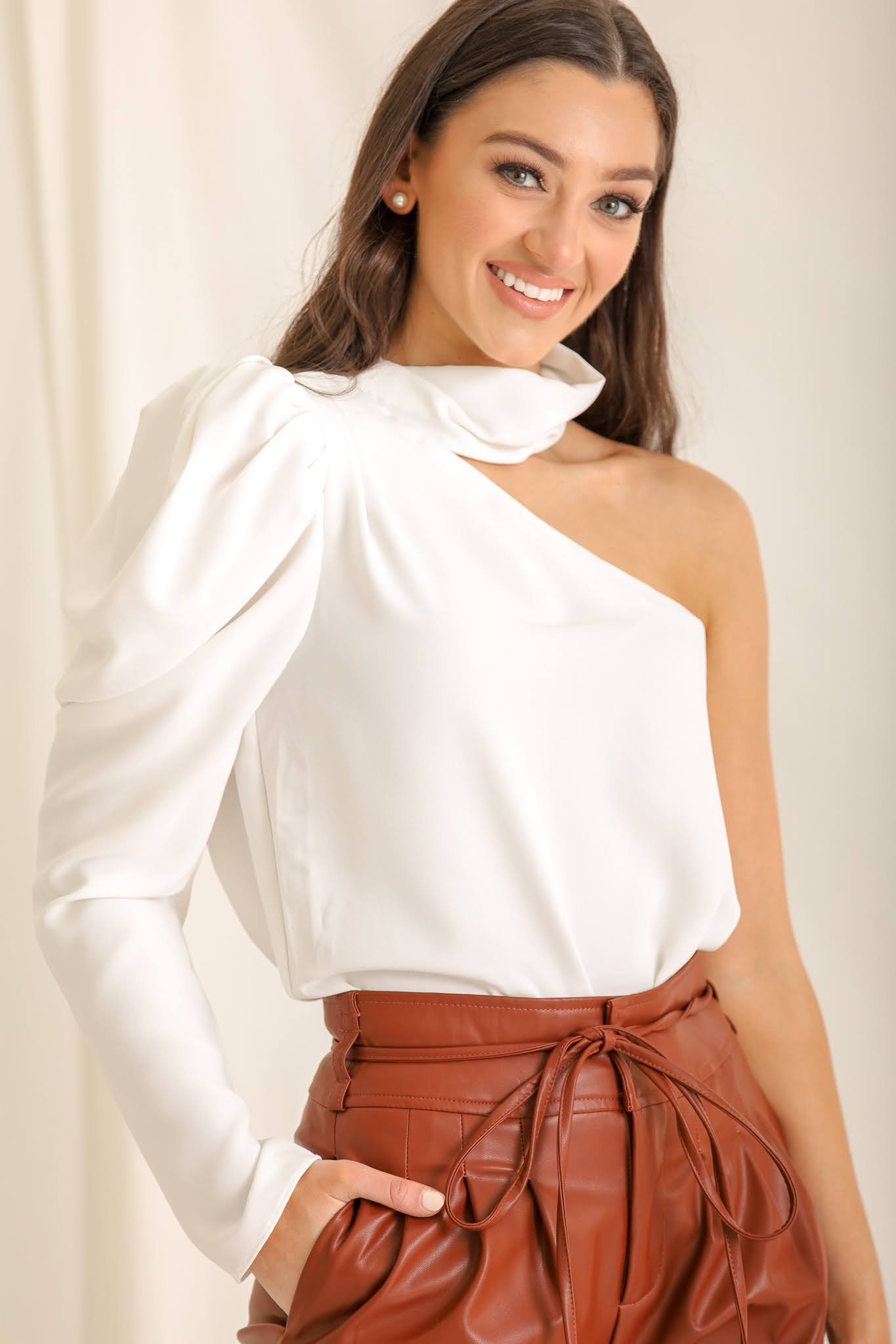 Get My Good Side One Shoulder Top - White