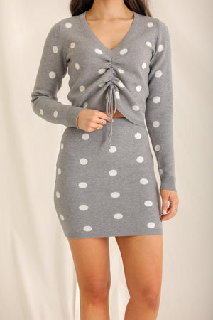 Clueless Gets Cozy Grey Polka Dot Ruched Sweater
