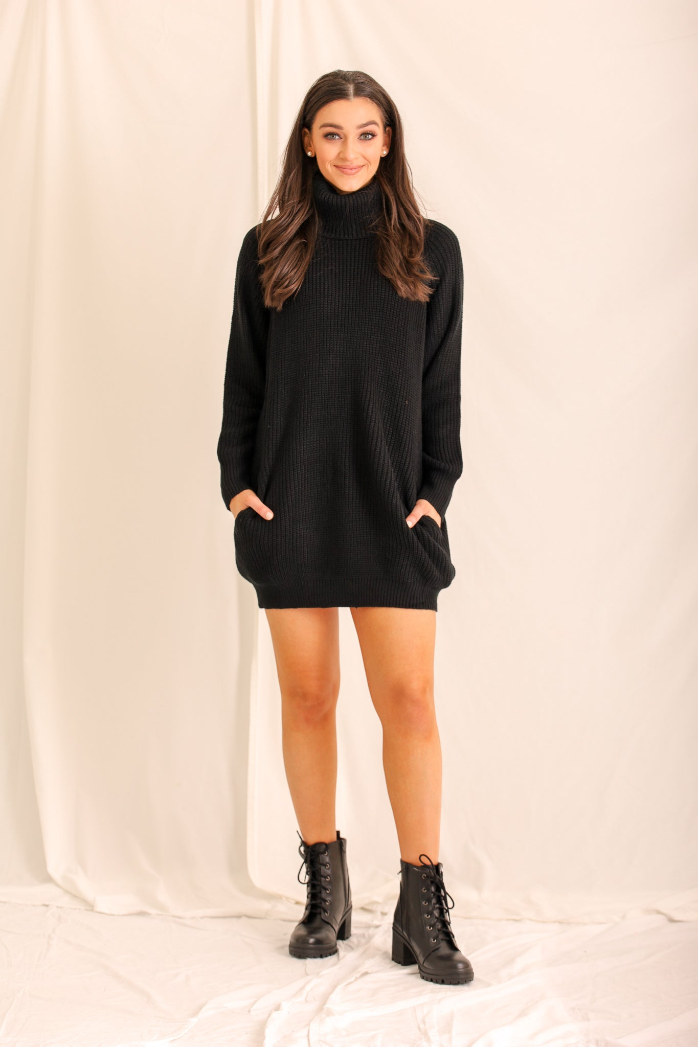 Chic But Cozy Black Sweater Dress