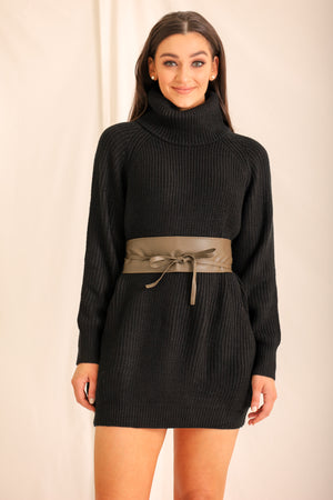 Faux Leather Waist Belt - Olive