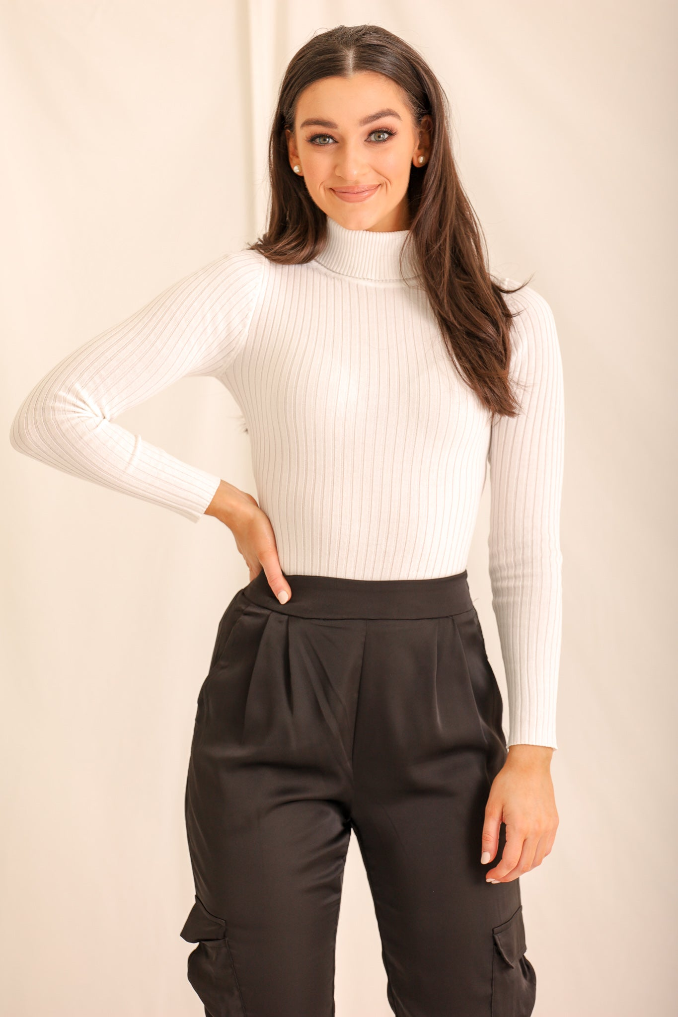 Gotta Have This Ribbed Turtleneck Bodysuit - White