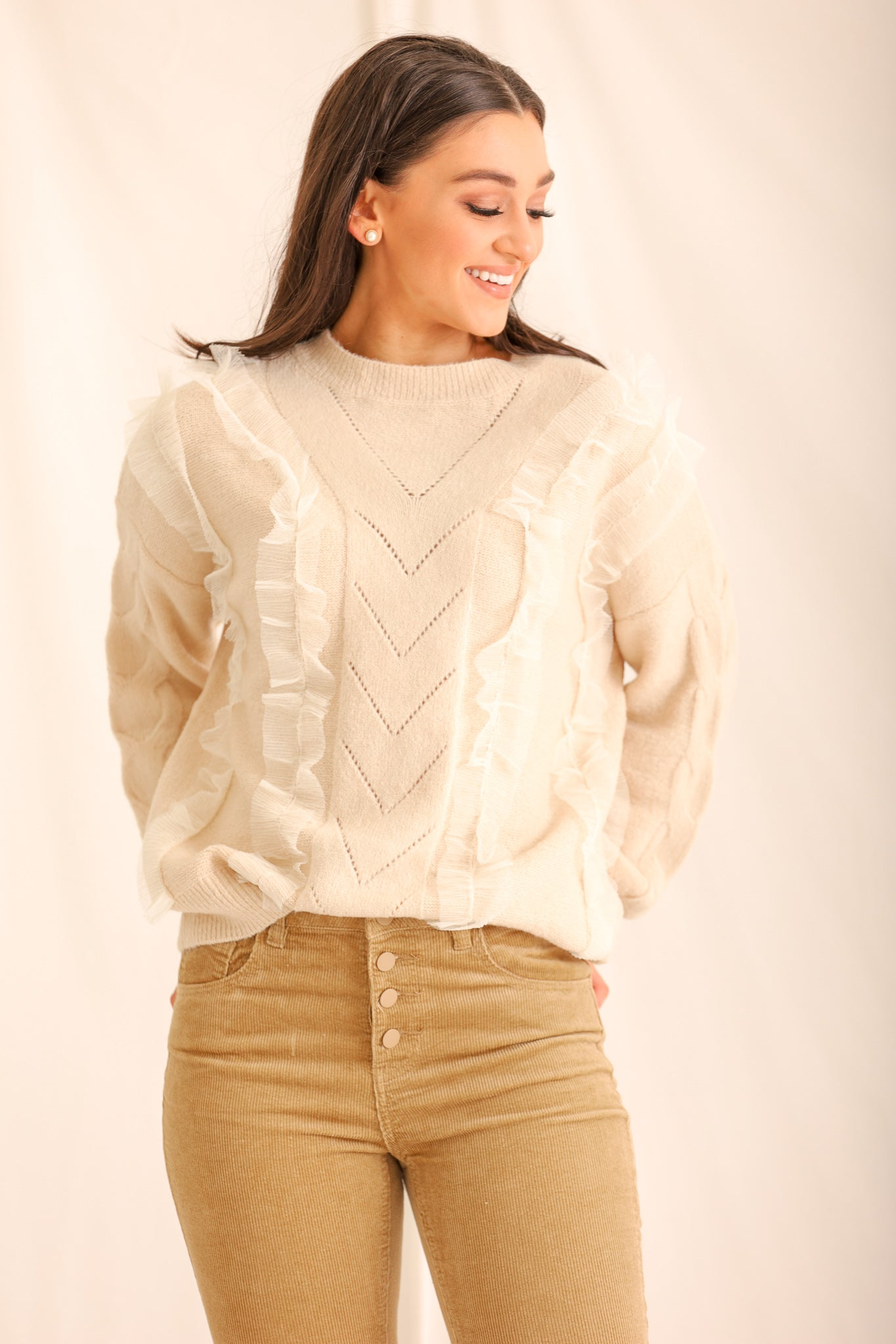 Feeling Quite Ruffled Sweater - Beige