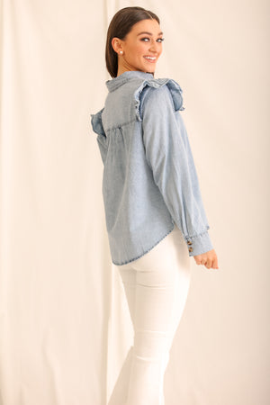 Darling Denim Top w/ Ruffles