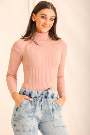 Gotta Have This Ribbed Turtleneck Bodysuit - Pink
