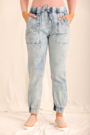 If I Could Turn Back Time Acid Wash Denim Joggers
