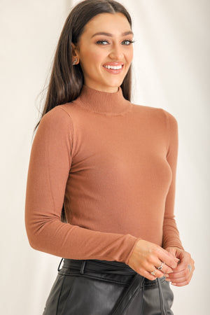 Jane Isn't Plain Mockneck Sweater - Terracotta
