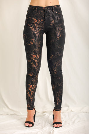 "Excuse Me ""Hiss"" Snakeskin Skinny Jeans"