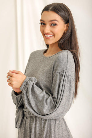 Act Casual Crew Neck Jersey Dress - Gray