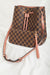 One Chic Set Drawstring Purse with Wallet- Mauve & Brown