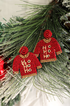 Not Ugly At All Christmas Sweater Earrings - Red
