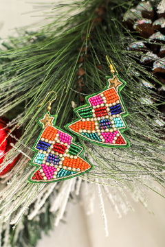 Chasing Rainbow Christmas Tree Earrings