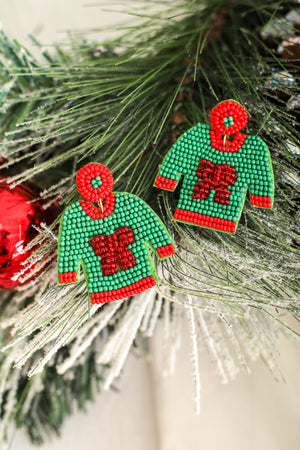 Not Ugly At All Christmas Sweater Earrings - Green