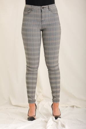 As Per My Email Skinny Plaid Trousers