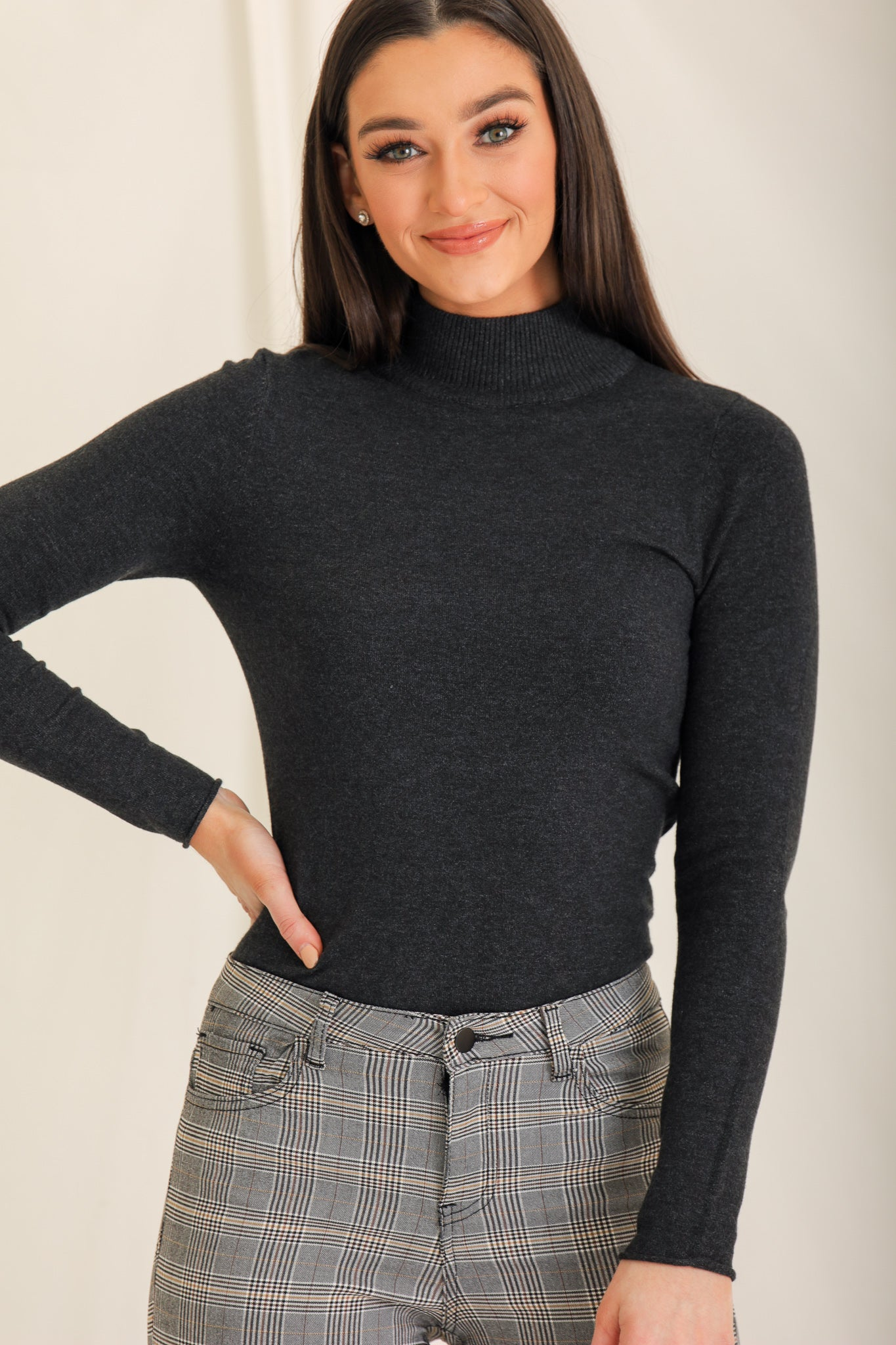 Jane Isn't Plain Mockneck Sweater - Grey