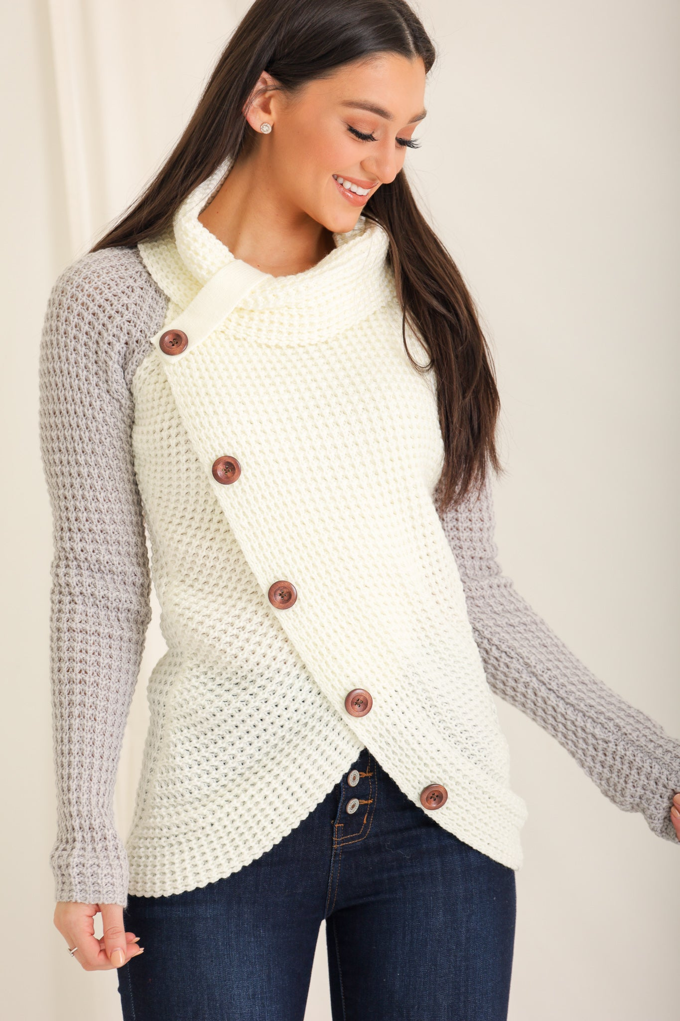 Buttoned and Bundled Waffle Knit Top