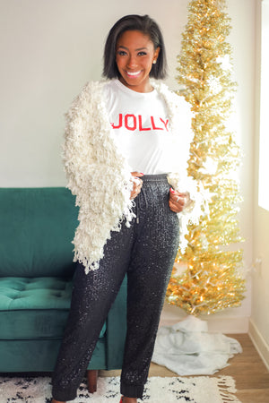 The First Snowfall White Loop Cardigan