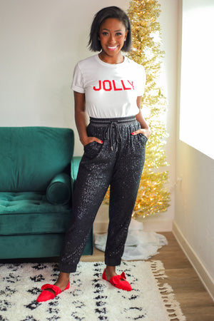 Twinkling Lights Black Sequin Joggers