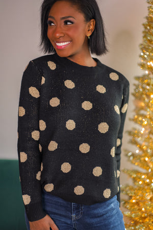 Gimme Those Dots Sweater - Black/Champagne