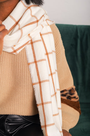 Christmas Plaid Scarf - White