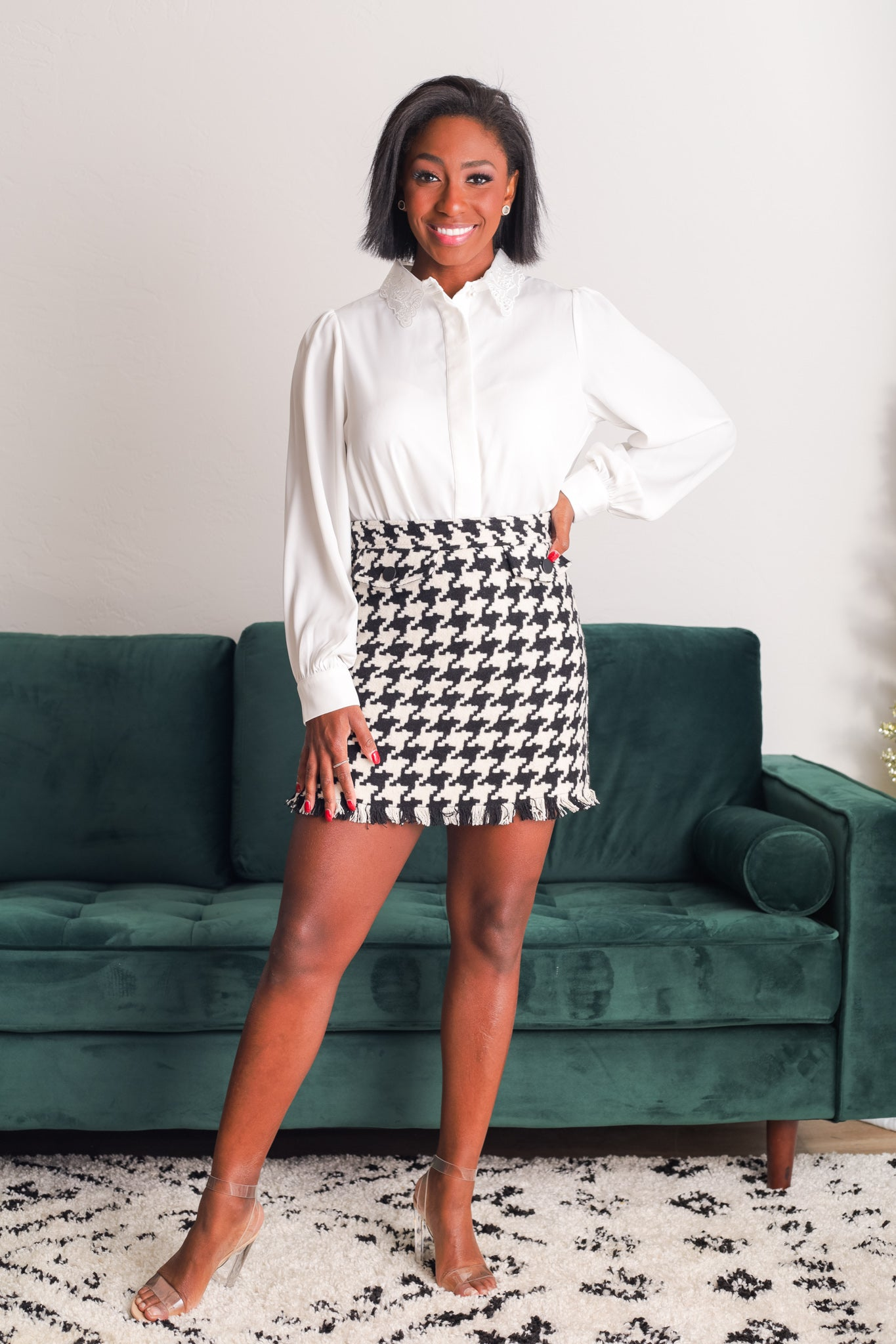 The Need for Tweed Houndstooth Skirt