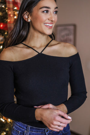How Very Essential Knit Ribbed Top - Black