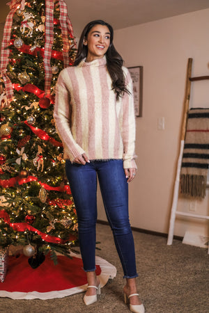 Soft, Sweet and Striped Mock Neck Sweater