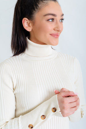 Ribbed and Right Tortoise Shell Button Detail Turtleneck