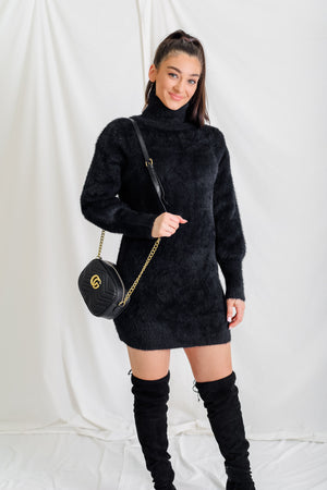 Oh So Chic Black Mohair Turtleneck Sweater Dress