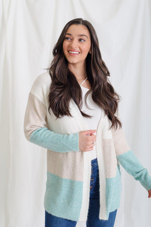 A Soft Block Cardigan - Teal