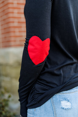 Heart on my Sleeve - Elbow Patch Top
