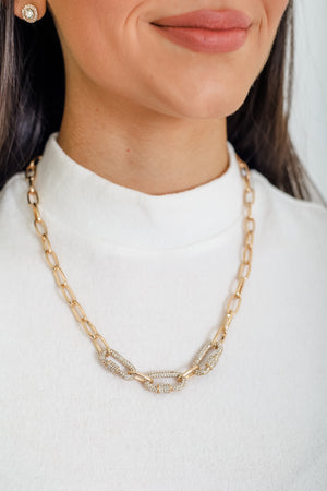 Links and Glitz Necklace - Gold