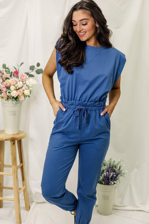 All Day Long Jogger Suit-  Slate Blue
