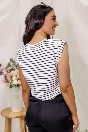 Showing Off My Stripes - Shoulder Statement Top