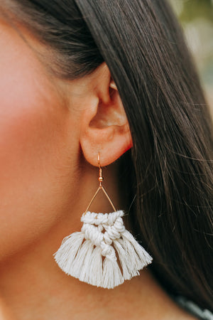 Boho Dreams Macrame Earrings - Ivory