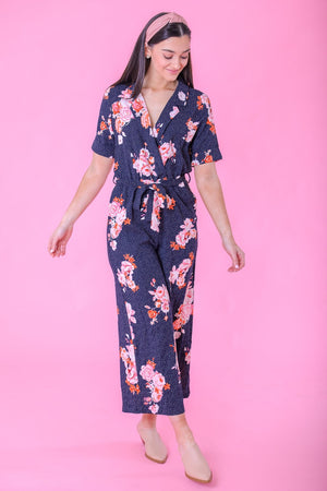 Lilith Floral Tie Waist Jumpsuit - Jumpsuits - Wight Elephant Boutique