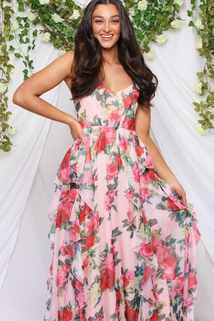 Rose Garden Ruffle Maxi Dress